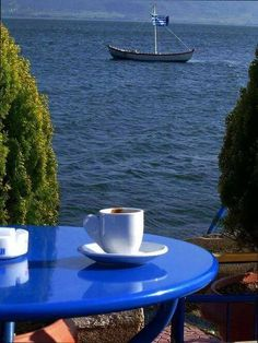 by Greece. Best coffee time ever I Love Coffee, Best Coffee, My Coffee, Brown Coffee, Coffee Cafe, Coffee Drinks, Coffee Shop, Coffee Lovers, Good Morning Coffee