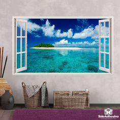 Vinilos para pared en forma de ventana en Teleadhesivo Poster Xxl, My New Room, Tapestry, Beach, Frame, Living Room, Home Decor, Paisajes, Painted Doors