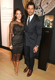 Stephanie Mendoros and David Gandy attend the cocktail opening of the Chopard exhibition 'LUC L'art d'une Manufacture' at Phillips Gallery on October...
