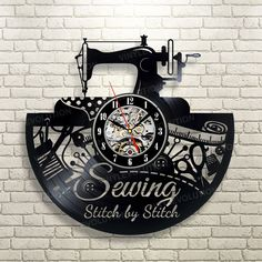 Sewing Gifts For Men Sewing Machine Art Vinyl record Wall Clock Sewing Art, Sewing Rooms, Love Sewing, Vintage Sewing Patterns, Art Vinyl, Used Vinyl Records, Wall Clock Gift, Wall Clocks, Finding A Hobby