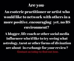 #astrology #tarot #esoteric #occult  Are you interested in finding out more about what we do? If you're looking for one place to find posts by awesome people perhaps connect with an ethical practitioner- well that's what we're looking to build so pop on over. Perhaps youre looking to expand or even just get started with your own #esotericbusiness but youre not sure where to begin. We know it can be overwhelming and we offer support and encouragement- no catch no cash investment. Just…