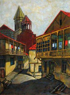 Street Scene, Old Quarter, Tbilisi, Georgia - unknown artist, c.2001 (collection of Sheffield Hallam University)