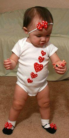 Too cute!! Valentine Baby Girl OnePiece Polka Dot Heart  by TwiceAsNiceBaby, $15.00