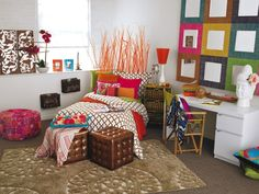 Do you love the bright and vibrant color in this boho styled room? Find out what type of home decor style you have by taking our Stylescope quiz. Click here!
