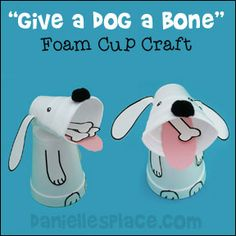 Foam Cup Dog Craft for Children from www.daniellesplace.com. Use as a Math or Reading Activity for Preschool Children