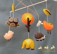 Autumn baby mobile- Forest baby mobile- Autumn animals mobile via Etsy