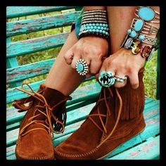 Turquoise jewelry, cuff, bangles, bracelets, and chunky cool rings with leather moccasins.....
