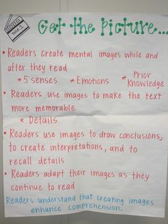 Proficient readers:    use images to make emotional connections to the text  adapt their images as they read to include new information  use images to immerse themselves in rich detail as they read