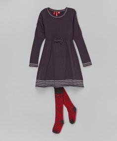 Another great find on #zulily! Dark Gray Stripe Dress & Tights - Girls by à petite échelle #zulilyfinds