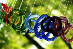 Fused glass windchimes in my garden