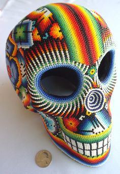 Mexican Huichol Beaded Skull by Aramara on Etsy Sugar Skull Art, Cow Skull, Sugar Skulls, Aztec Culture, Acid Art, Mexico Art, Deep Art, Day Of The Dead Skull, Mexican Designs