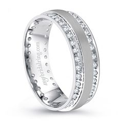Dazzling Channel Set Diamond wedding band in 14K white gold - http://www.mybridalring.com/Mens/double-channel-set-diamond-wedding-band-in-14k-white-gold/