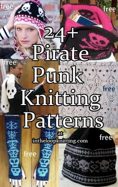 Knitting patterns for skull and crossbones for pirates and punks, most patterns are free