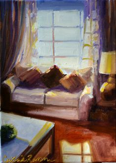 VIA CONENTA original art painting of couch by CECILIAROSSLEE