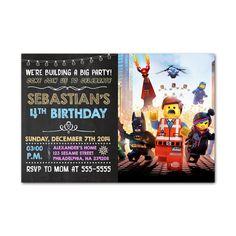 Lego Build Big Kids Birthday Invitation Party Design