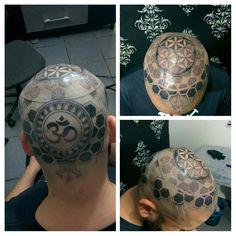 Cube and Om by @bnovaestattoo #dotwork #tattoo