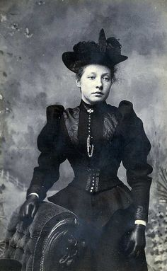 Alice Gibson, 1894. I love a good black Victorian dress, especially from the 1870's-90's. So elegant.