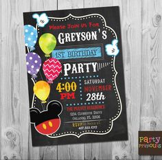 Mickey Mouse Invitation, Mickey Mouse Birthday Invitation, Mickey 1st Birthday Invitation, Mickey First Birthday Invitation Boy Printable by PartyPrintouts on Etsy https://www.etsy.com/listing/266348816/mickey-mouse-invitation-mickey-mouse