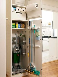 Reorganize Your Utility Closet is part of Cleaning Closet Organization - Transform your utility closet into a lean, mean, home maintenance machine Plus superstar sprays, scrubbers, mops and Laundry Room Storage, Laundry Room Design, Closet Storage, Kitchen Organization, Kitchen Storage, Locker Storage, Laundry Rooms, Organization Ideas, Kitchen Pantry