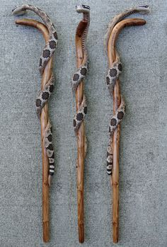 I carved this cane out of a single piece of wood that has a natural crook. It is a lot like my walking sticks with the snake wrapped around it. The handle is made so that the snake comes up over the hand. Irish Walking Stick, Walking Sticks For Sale, Handmade Walking Sticks, Walking Sticks And Canes, Wooden Walking Canes, Wooden Walking Sticks, Wood Carving Patterns, Wood Patterns, Carving Wood