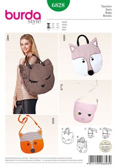 Cute and funny bags for children and young-at-heart adults, definitely true attention getters. Large shopping bag with handles and small shoulder bag with adjustable straps, all with zip closure. Sew with #simplicity #burdapattern 6828