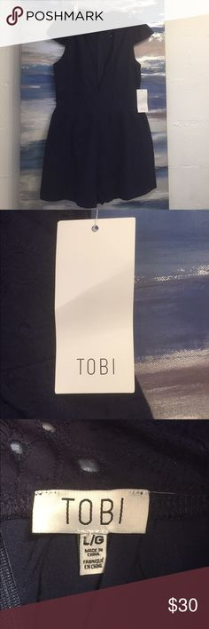 Blue Tobi Romper ⚡️PRICE CUT! ⚡️ Blue romper with flower embroidery. Make an offer! Tobi Other