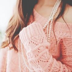 Pretty pearls and pink sweater