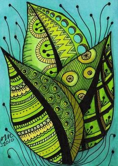 """Summer Leaves Zentangle Style"" by Cindy Vasquez: Bright summer leaves, fine line art with color adroitly added to emphasize patterning, done in pen & ink.Fine art print made from my original illustration. Doodles Zentangles, Zentangle Patterns, Doodle Drawings, Doodle Art, Zentangle Drawings, Painting & Drawing, Silk Painting, Tangle Art, Inspiration Art"