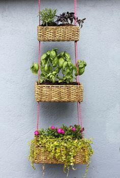 vertikaler Garten Gestalten  bepflanzen Körbe: für Erdbeeren?