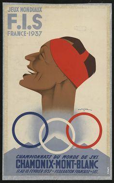 """Affiche, 1937 """"Jeu mondiaux F.I.S. France 1937. Championnats du monde de ski Chamonix-Mont-Blanc 11 au 18 février 1937 - Fédération française de ski"""" Gaston GORDE, lithographie Collections du Département de la Haute-Savoie"""