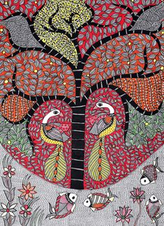 Exotic India Peacocks on Tree of Life in Fish Pond - Madhubani Painting on Hand Made Paper - Folk Pa Madhubani Art, Madhubani Painting, Pond Painting, Silk Painting, Contemporary Decorative Art, Indian Folk Art, Naive Art, Ancient Civilizations, How To Make Paper