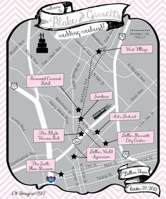 """Dallas, Texas Wedding Map - good to have and """"attractions map"""" for out of towners!"""