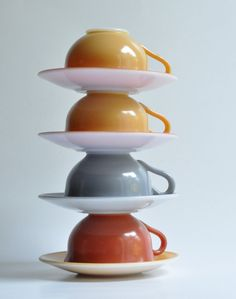 Moxie Set of Anchor Hocking-Glass Coffee Cups-Saucers