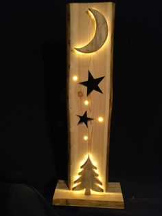 My second Christmas decoration, now with a moon that lights up from behind with LEDs . - Crafts - My second Christmas decoration now with a moon that lights up from behind with LEDs - Christmas Wood Crafts, Christmas Projects, Holiday Crafts, Christmas Crafts, Christmas Decorations, Christmas Ornaments, Wooden Projects, Wooden Crafts, Diy And Crafts