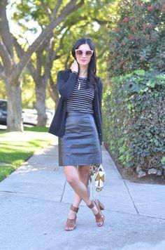 @Gap cardigan & top, vintage leather skirt