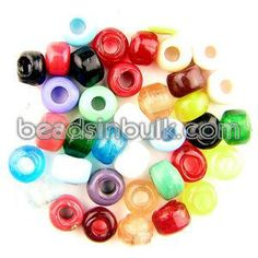 BIS-MIX-200 7x9mm Short Cylindrical Crow Glass Beads Mix (1lb) $17.65