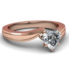 0.45 Ct Heart Shaped Solitaire Diamond Swirl Tapered Engagement Ring GIA 14K Rose Gold