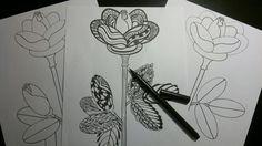 DIY Tegn selv Påske-blomst med æg-skabeloner, doodle tegning