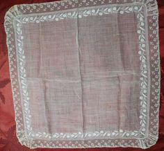 Dresden whitework, Valenciennes lace hankie c1790