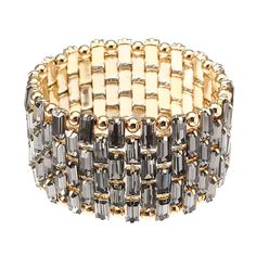 JASSY® Fine Luxury Bracelet Gold Plated Shiny Transparent Black Crystal Stretch Bead Cuff Bracelet
