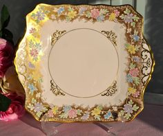 Tuscan Pastel Pink, Gold and Floral Cake Plate