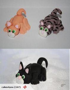 cat cake-topper Fondant Cat, Fondant Tips, Fondant Animals, Fondant Toppers, Clay Animals, Ice Cream Cupcakes, Cat Cupcakes, Birthday Cake For Cat, Birthday Cakes