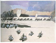 Jāzeps GROSVALDS | Latvian | Latvia 1891 –  Paris, France 1920 | Post-Impressionism, Modernism. Kavalerija apsaudita, 1917