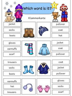 "Clip cards ""winter clothes"" The promised clip cards for ""winter clothes .- Clip cards ""winter clothes"" The promised clip cards for ""winter clothes"" are now ready. English Primary School, English Grammar For Kids, Learning English For Kids, English Worksheets For Kids, English Lessons For Kids, Kids English, English Reading, English Activities, Preschool Learning Activities"