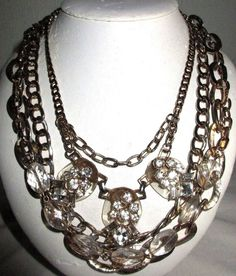 "VINTAGE ESTATE 17-24"" MULTI STRAND/GOLDTONE CHAIN/RHNESTONE/LUCITE NECKLACE"