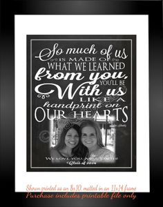 """""""So much of us is made of what we learned from you, you'll be with us like a handprint on our hearts"""" - Printable Personalized CUSTOM Photo Wall Art Lyrics by Jalipeno from the Broadway musical """"Wicked"""" song """"For Good"""". It's the perfect, personalized gift for a teacher, coach, co-worker, boss, or leader - great for end of year teacher gift from the class, retirement, thank you, moving away, graduation, end of season, etc. Check the shop for lots more Wicked quotes and variations to this…"""