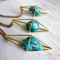 Geometric pendant necklace Turquoise by ChaseAndScoutDesign Turquoise Pendant, Turquoise Jewelry, Stone Jewelry, Crystal Jewelry, Gemstone Necklace, Pendant Necklace, Messing, Cute Jewelry, Piercing