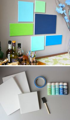 45 Beautiful Wall Art Ideas For Your Home-homesthetics.  Could group the kids dots-to-paintings canvases in a pleasing array..