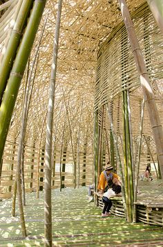 """The Light of Shodoshima - Setouchi Triennale 2013 """"A giant dome constructed of island-grown bamboo lies at the foot o - Bamboo Architecture, Amazing Architecture, Architecture Design, Bamboo Art, Bamboo Crafts, Bamboo Light, Tiki Bars, Bamboo House Design, Espace Design"""