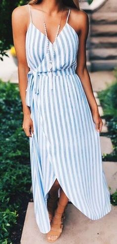 #fall #outfits Striped Wrap Maxi Dress